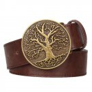Men's Leather Belts With Peace Tree Cowboy Metal Buckle Jeans Waistband PU Leather Belts