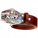 Men's Leather Belts With United States Navy Cowboy Metal Buckle Jeans Waistband PU Leather Belts