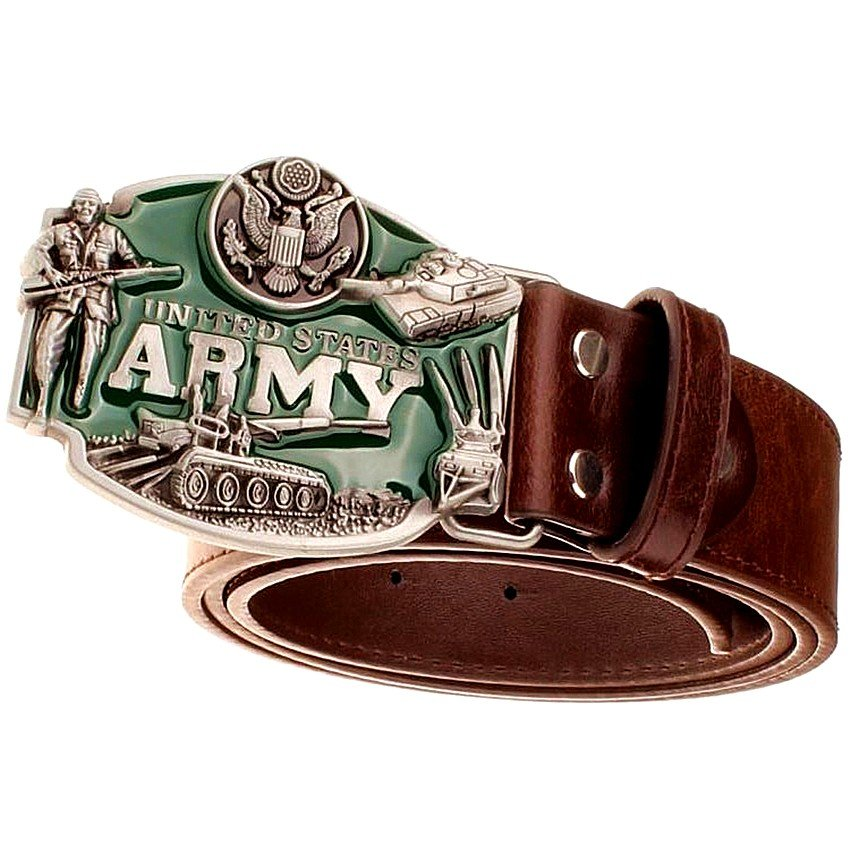 Men's Leather Belts With United States Army Cowboy Metal Buckle Jeans Waistband PU Leather Belts