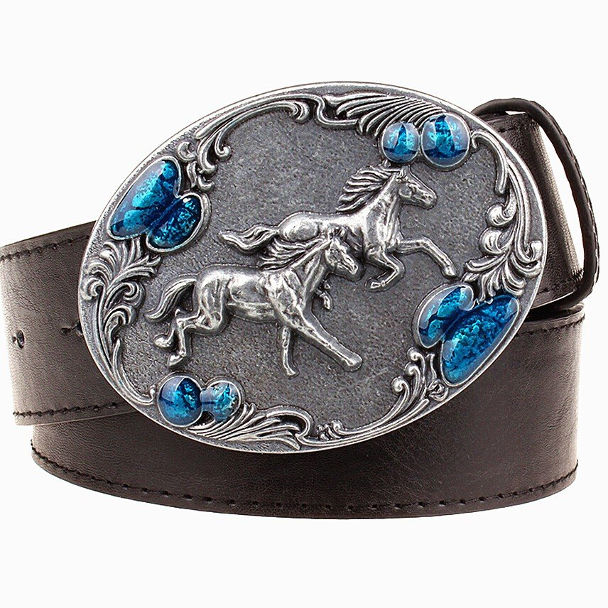 Men's Leather Belts With Horse Pattern Cowboy Metal Buckle Jeans Waistband PU Leather Belts