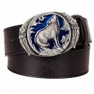 Men's Leather Belts With Wolf Totem Cowboy Metal Buckle Jeans Waistband PU Leather Belts