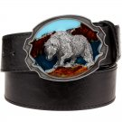 Men's Leather Belts With Polar Bear Cowboy Metal Buckle Jeans Waistband PU Leather Belts