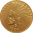 USA 10 Dollars 1907 Hobo Nickel Gold Coin Copy