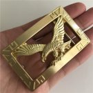 Rectangle 3D Yellow Eagle Solid Brass Western Cowboy Belt Buckles