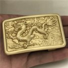 Rectangle 3D Yellow Dragon Solid Brass Western Cowboy Belt Buckles
