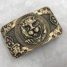 3D Bronze Tiger Solid Brass Western Cowboy Men Belt Buckles Fit 4cm Wide Belt