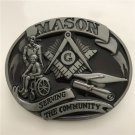 Oval Mason Serving The Community Western Cowboy Men Belt Buckles Fit 4cm Wide Belt