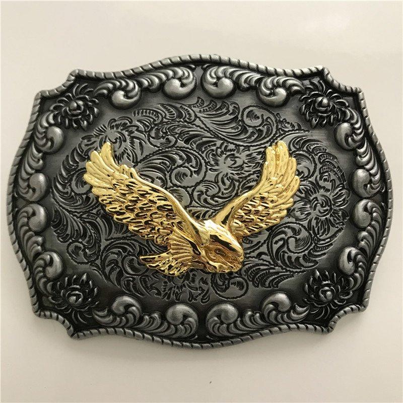Gold Eagle Western Cowboy Men Belt Buckles Fit 4cm Wide Belt