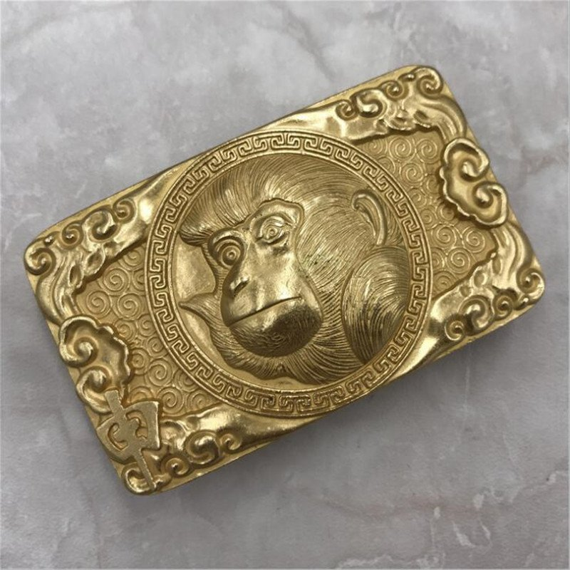 3D Gold Monkey Solid Brass Western Cowboy Men Belt Buckles Fit 4cm Wide Belt