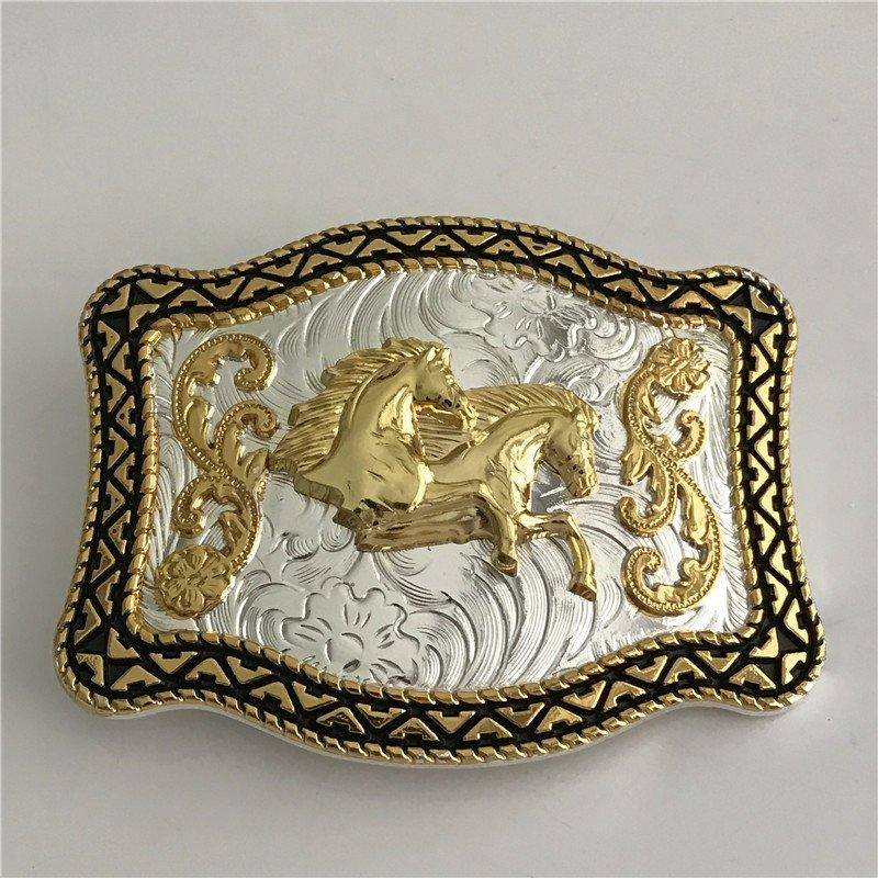 3D Lace Gold Horse Head Western Cowboy Men Belt Buckles Fit 4cm Wide Belt