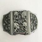 Silver Skull Lighter Western Cowboy Men Belt Buckles Fit 4cm Wide Belt