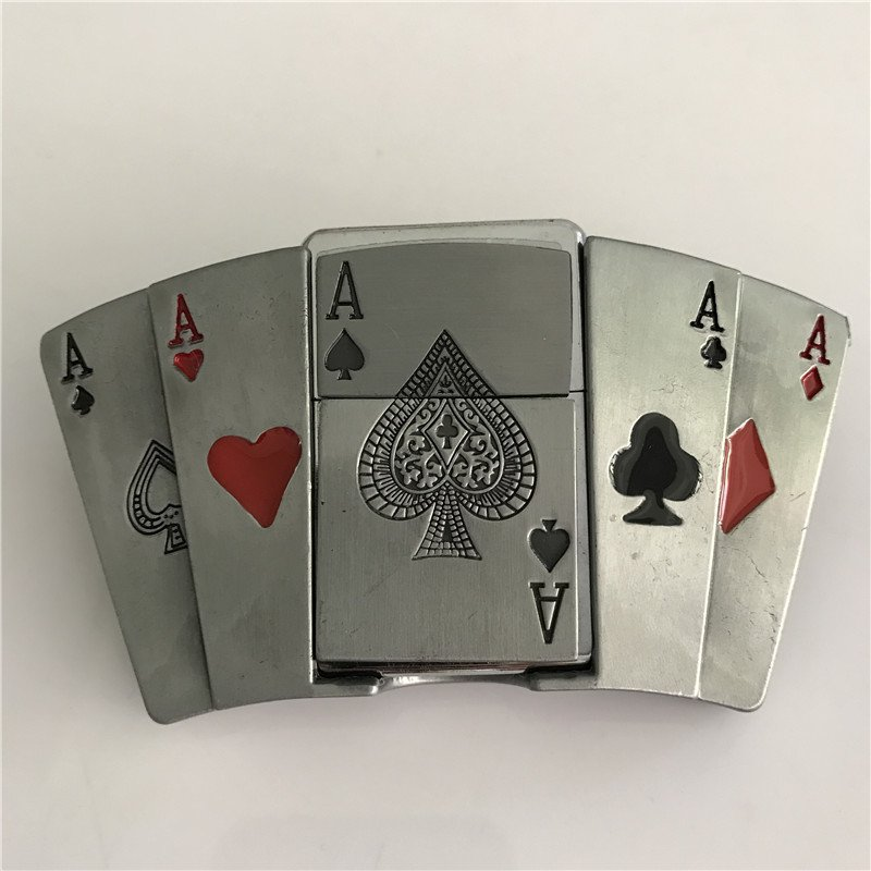Playing Card A Kerosene Lighter Western Cowboy Men Belt Buckles Fit 4cm Wide Belt