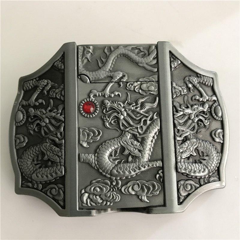 Dragon Lighter Western Cowboy Men Belt Buckles Fit 4cm Wide Belt