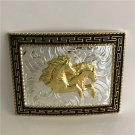 3D Gold Horse Head Western Cowboy Men Belt Buckles Fit 4cm Wide Belt