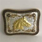 Gold Horse Head Western Cowboy Men Belt Buckles Fit 4cm Wide Belt
