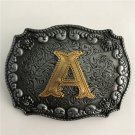 Golden Initial Letter A Western Cowboy Men Belt Buckles Fit 4cm Wide Belt
