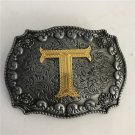 Gold T Initial Letter Western Cowboy Men Belt Buckles Fit 4cm Wide Belt