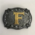 Gold F Initial Letter Western Cowboy Men Belt Buckles Fit 4cm Wide Belt