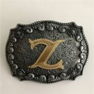 Gold Z Initial Letter Western Cowboy Men's Belt Buckles Fit 4cm Wide Belt