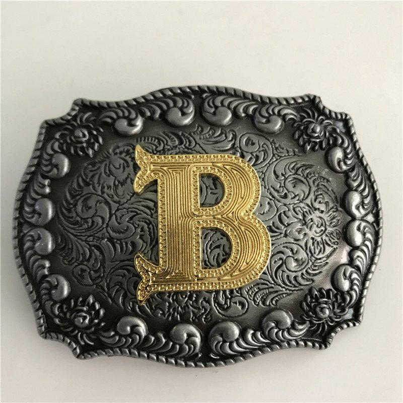Gold B Initial Letter Western Cowboy Men's Belt Buckles Fit 4cm Wide Belt