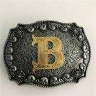 Gold B Initial Letter Western Cowboy Men's Belt Buckles Fit 4cm Wide Belt