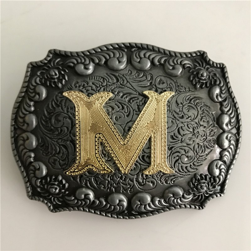 Golden M Initial Letter Western Cowboy Men's Belt Buckles Fit 4cm Wide Belt
