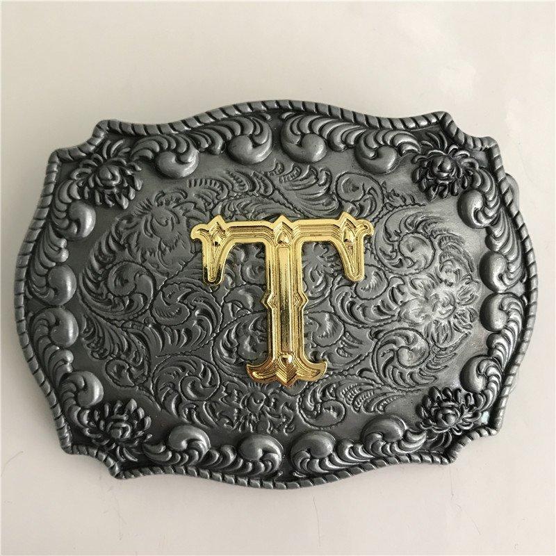 Golden T Initial Letter Western Cowboy Men's Belt Buckles Fit 4cm Wide Belt
