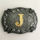 Golden J Initial Letter Western Cowboy Men's Belt Buckles Fit 4cm Wide Belt