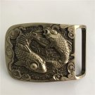 3D Fish Solid Brass Western Cowboy Men's Belt Buckles Fit 4cm Wide Belt
