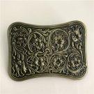3D Bronze Flower Pattern Western Cowboy Men's Belt Buckles Fit 4cm Wide Belt