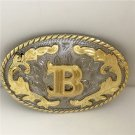 3D Lace Golden B Initial Letter Western Cowboy Men's Belt Buckles Fit 4cm Wide Belt