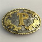3D Lace Golden P Initial Letter Western Cowboy Men's Belt Buckles Fit 4cm Wide Belt