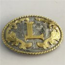 Oval Lace Golden L Initial Letter Western Cowboy Men's Belt Buckles Fit 4cm Wide Belt