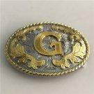 3D Lace Gold G Initial Letter Western Cowboy Men's Belt Buckles Fit 4cm Wide Belt