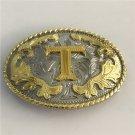 3D Lace Gold T Initial Letter Western Cowboy Men's Belt Buckles Fit 4cm Wide Belt