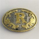 Oval Lace Golden R Initial Letter Western Cowboy Men's Belt Buckles Fit 4cm Wide Belt