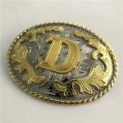 Oval Lace Golden D Initial Letter Western Cowboy Men's Belt Buckles Fit 4cm Wide Belt