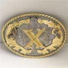 Oval Lace Gold X Initial Letter Western Cowboy Men's Belt Buckles Fit 4cm Wide Belt