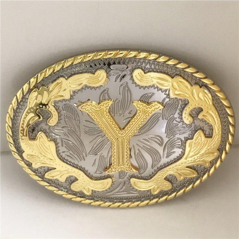 Oval Lace Golden Y Initial Letter Western Cowboy Men's Belt Buckles Fit 4cm Wide Belt