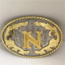 Oval Lace Golden N Initial Letter Western Cowboy Men's Belt Buckles Fit 4cm Wide Belt