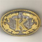 Oval Lace Golden K Initial Letter Western Cowboy Men's Belt Buckles Fit 4cm Wide Belt
