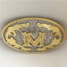 Oval Lace Golden M Initial Letter Western Cowboy Men's Belt Buckles Fit 4cm Wide Belt
