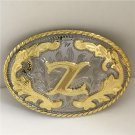 Oval Lace Golden Z Initial Letter Western Cowboy Men's Belt Buckles Fit 4cm Wide Belt