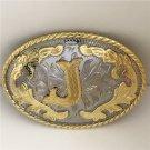 Oval Lace Golden J Initial Letter Western Cowboy Men's Belt Buckles Fit 4cm Wide Belt