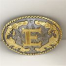 Golden E Initial Letter Western Cowboy Men's Belt Buckles Fit 4cm Wide Belt