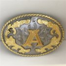 Golden A Initial Letter Western Cowboy Men's Belt Buckles Fit 4cm Wide Belt