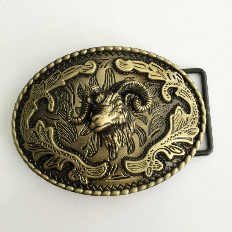 3D Bronze Sheep Head Western Cowboy Men's Belt Buckles Fit 4cm Wide Belt
