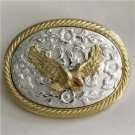 Silver Pattern Golden Eagle Western Men's Cowboy Belt Buckles Fit 4cm Wide Jeans Belt