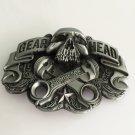 Gear Head Silver Skull Western Men's Cowboy Belt Buckles Fit 4cm Wide Jeans Belt