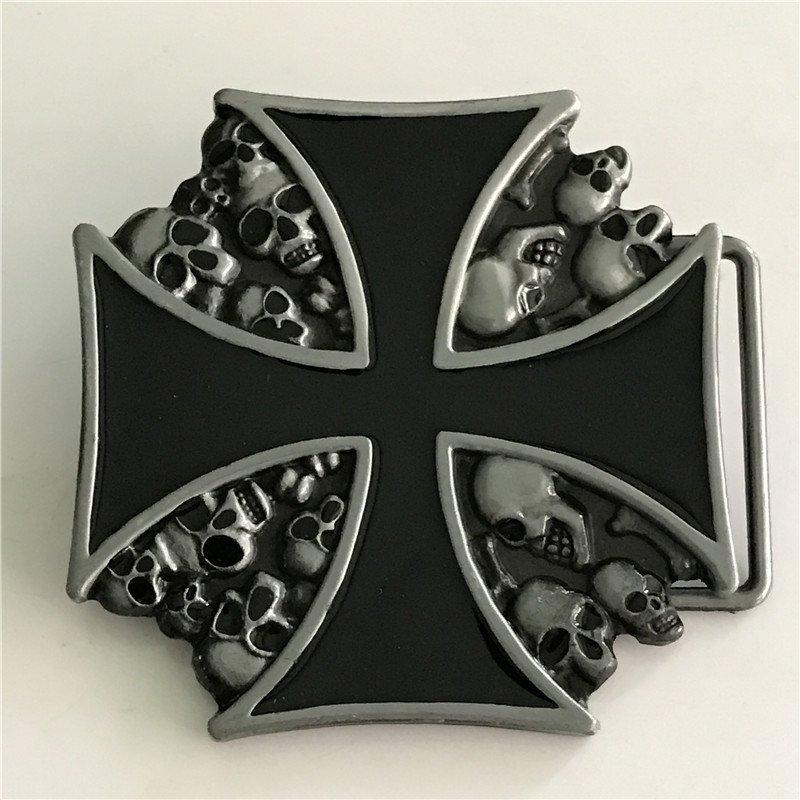 Silver Skulls Black Cross Western Men's Cowboy Belt Buckles Fit 4cm Wide Jeans Belt